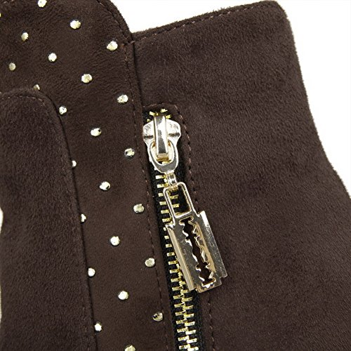 Allhqfashion Womens Frosted Pull-on Puntige Dichte Neus Kitten-hakken Lage Laarzen Bruin