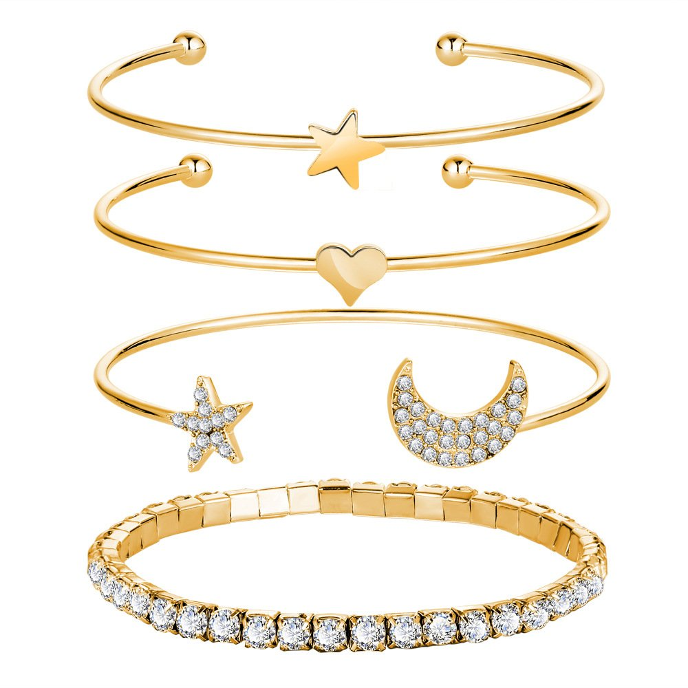 MIXIA 4 Pcs//Set Punk Vintage Charm Simple Moon Star Heart Crystal Elasticity Bracelet Party Jewelry Accessories for Women Girls