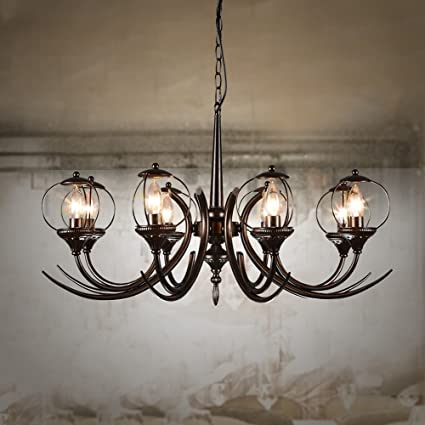 Risparmia più energia lampadario --- LXSEHN Nero Stile Europeo Retrò ...