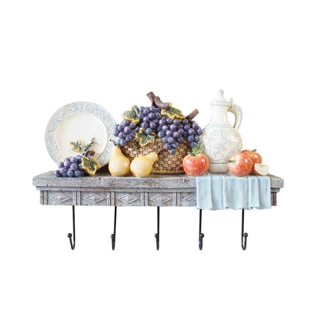 Uncle SamLI@ European-style Kitchen Creative Hooks up, Resin Material, Wall-mounted, Creative Simulation Fruit Ornaments Decorative Wall Shelves