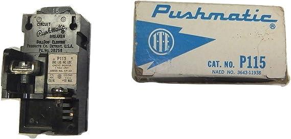 P115 Bulldog Electric 1 Pole 15 Amp Pushmatic Breaker