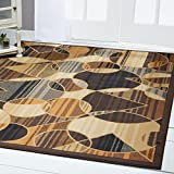 Home Dynamix Royalty Lyra Area Rug | Contemporary Living Room Rug | Geometric Pattern and Stripe Print | All-Over Modern Design | Brown, Blue 5'2