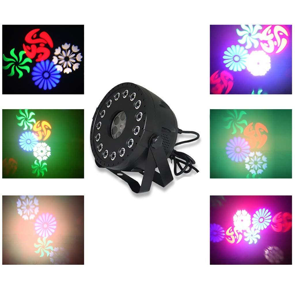 Jeeke Telecontrol 15 LED Lights and 4 Pattern Projectors Christmas Halloween Pattern LED Rotating Projection for DJ KTV Performance Party by Jeeke
