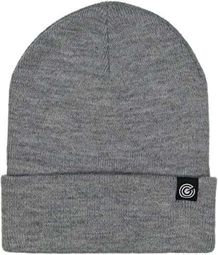 Cuffed Beanie - Warm Daily Beanie Hat with Foldover Cuff - Stylish Winter Colors,Light Heather Grey,One Size