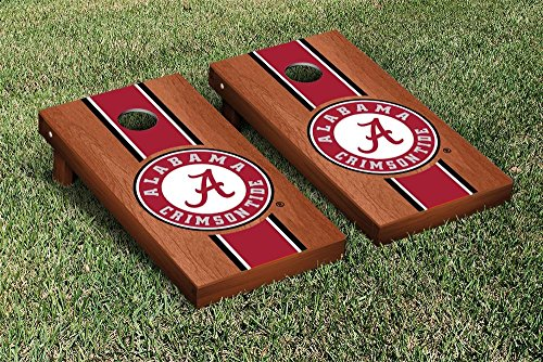 Alabama Crimson Tide Cornhole Game Set Rosewood Stained Stripe Version by Victory Tailgate