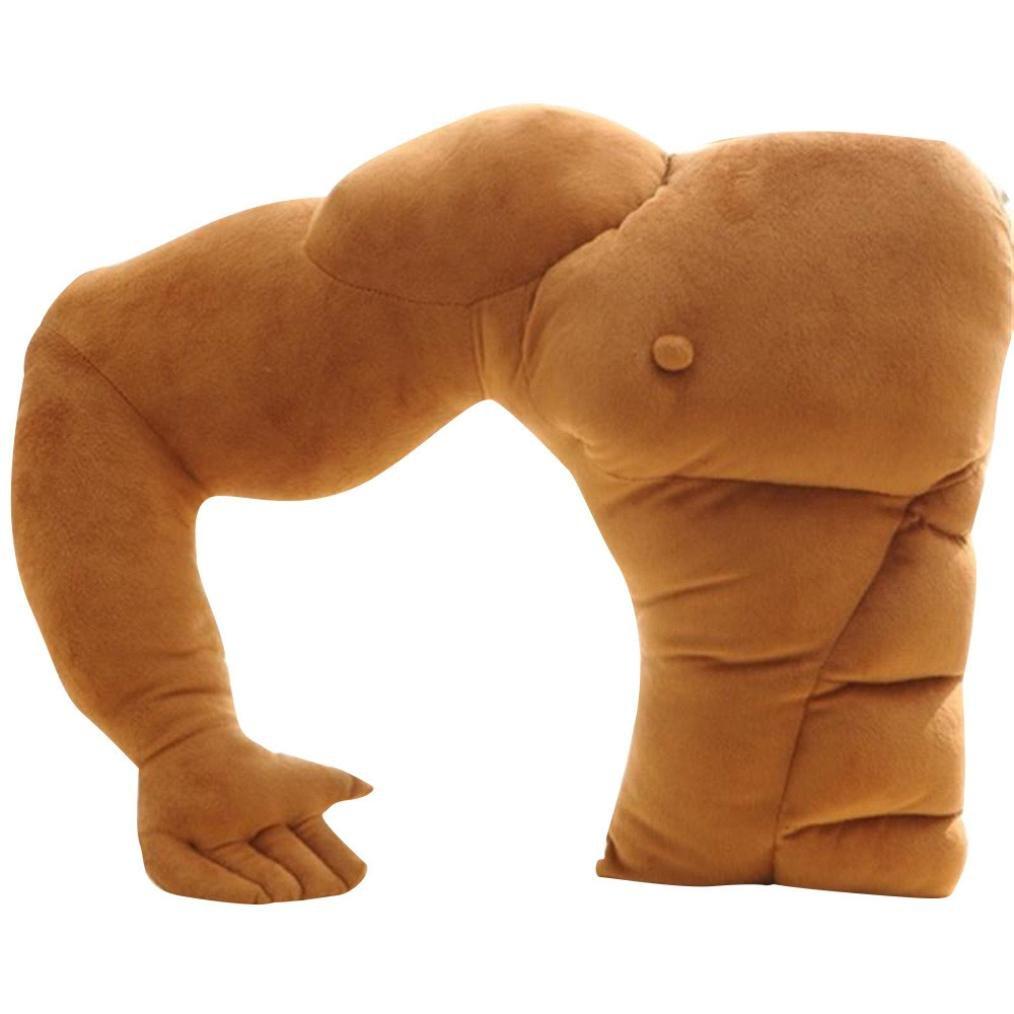 Freeheart Muscle Man Body Arm Plush Cotton Pillow Boyfriend Muscle Arm Rest Pillow Body Hugging Throw Cushion Girlfriend Sleeping Kids Toy Gift 21''x18''