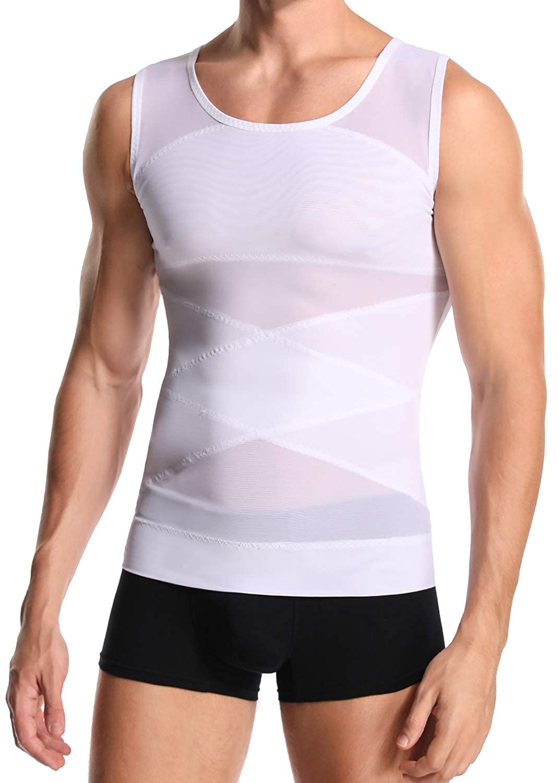 Derssity Mens Compression Vest Top Belly Slimming Body Shaper Undershirt to Hide Man Boobs