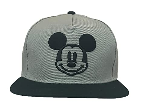 pretty nice c0f4a 2fcae ... inexpensive disney adults mickey mouse smiley icon flat bill snapback  cap grey black c0f4e 58e88