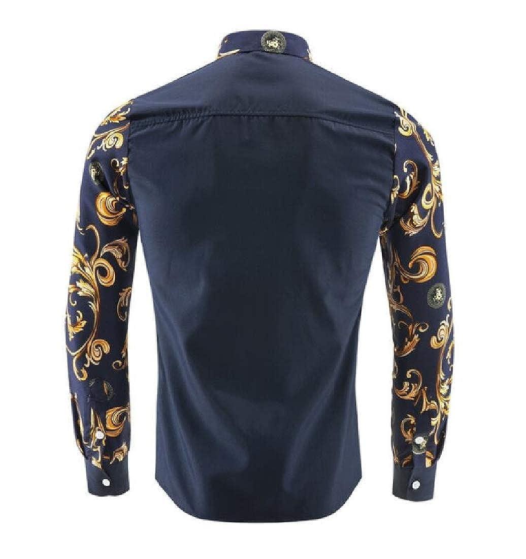 Joe Wenko Mens All-Match Splice Button-Down Long-Sleeve Print Shirts