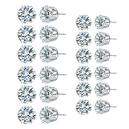 12 Pairs Round Stud Earrings Set Clear Cut Cubic Zircon Copper Stainless Steel Studs Earrings Jewelry Gifts for Women Girls 8mm and 6mm