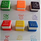 Edtoy 6pcs Chic Teacher Stamper Self Inking Praise Reward Stamps Motivation Sticker