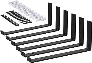 Shelf Bracket, Beletops Iron Wall Shelf Bracket, Corner Brace, L Bracket, Heavy Duty Steel Decorative Joint Angle Bracket Wall Hanging Bracket with Screws, Matte Black 7.5inch