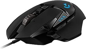 Logitech G502 HERO Ratón Gaming con Cable Alto Rendimiento, Sensor HERO 16K, 16 000 DPI, RGB, Peso Personalizable, 11 Botones Programables, Memoria Integrada, PC /Mac - Negro