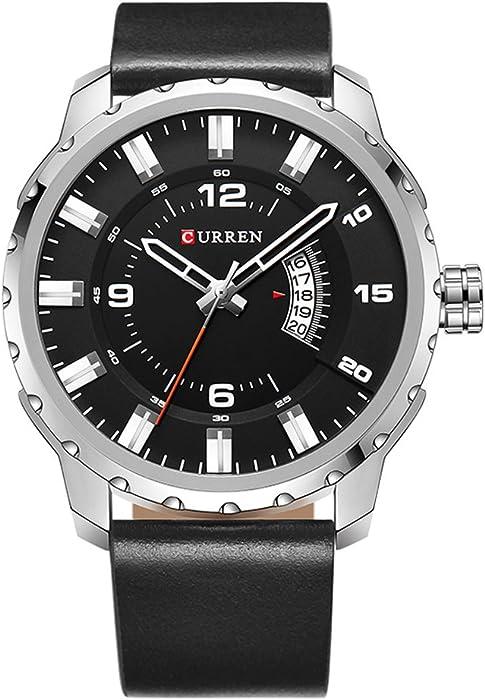 2017 nueva banda de marrón de piel auténtica Curren reloj de pulsera de cuarzo para hombre relojes primera marca black8252