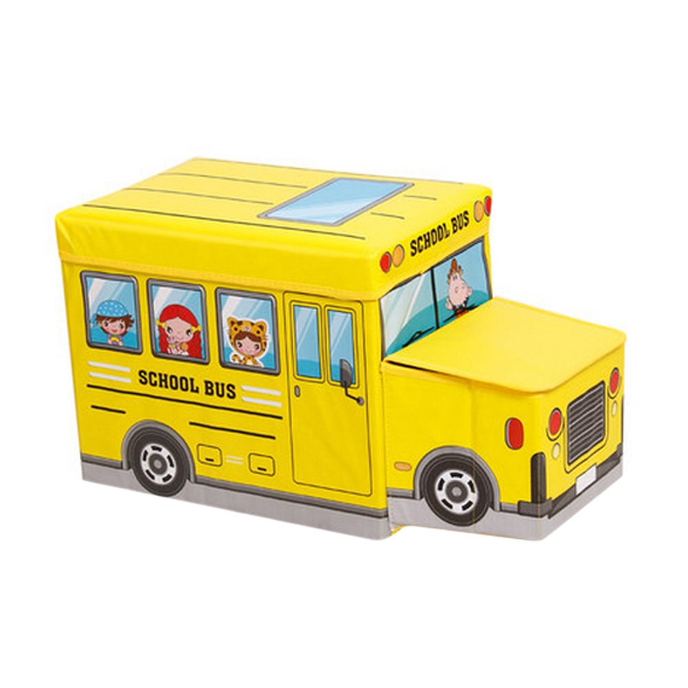 Children's Favorite Cartoon Car Storage Stool School bus Yellow Blancho Bedding