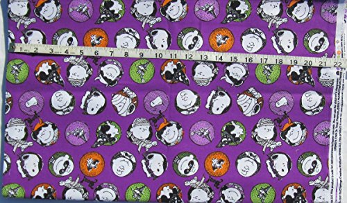 100% Cotton Fabric - Sold By the Yard - Peanuts - Charlie Brown, Snoopy and the Gang in Circles - Trick or Treat Halloween - on purple -