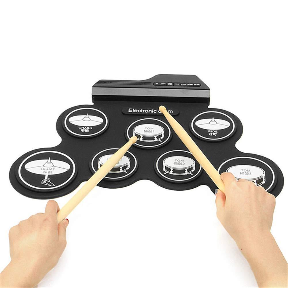 Bangxiu E-Drum-Set, Roll Up Drum Practice Pad Midi-Drum-Kit mit Kopfhörer Jack Eingebauter Lautsprecher Drum Pedals Drum Sticks 10 Stunden Spielzeit, Great Holiday Geburtstagsgeschenk für Kinder schwarz Icon Version