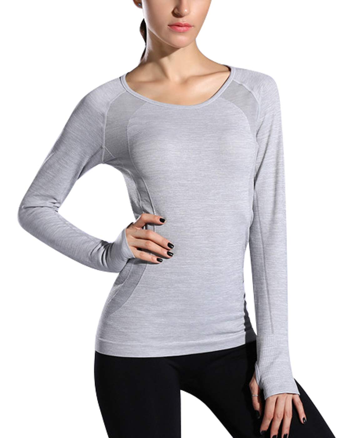 AEROBIC Women Sport Gym Yoga Long Sleeve Shirt Slim Fit Performance Running Tops