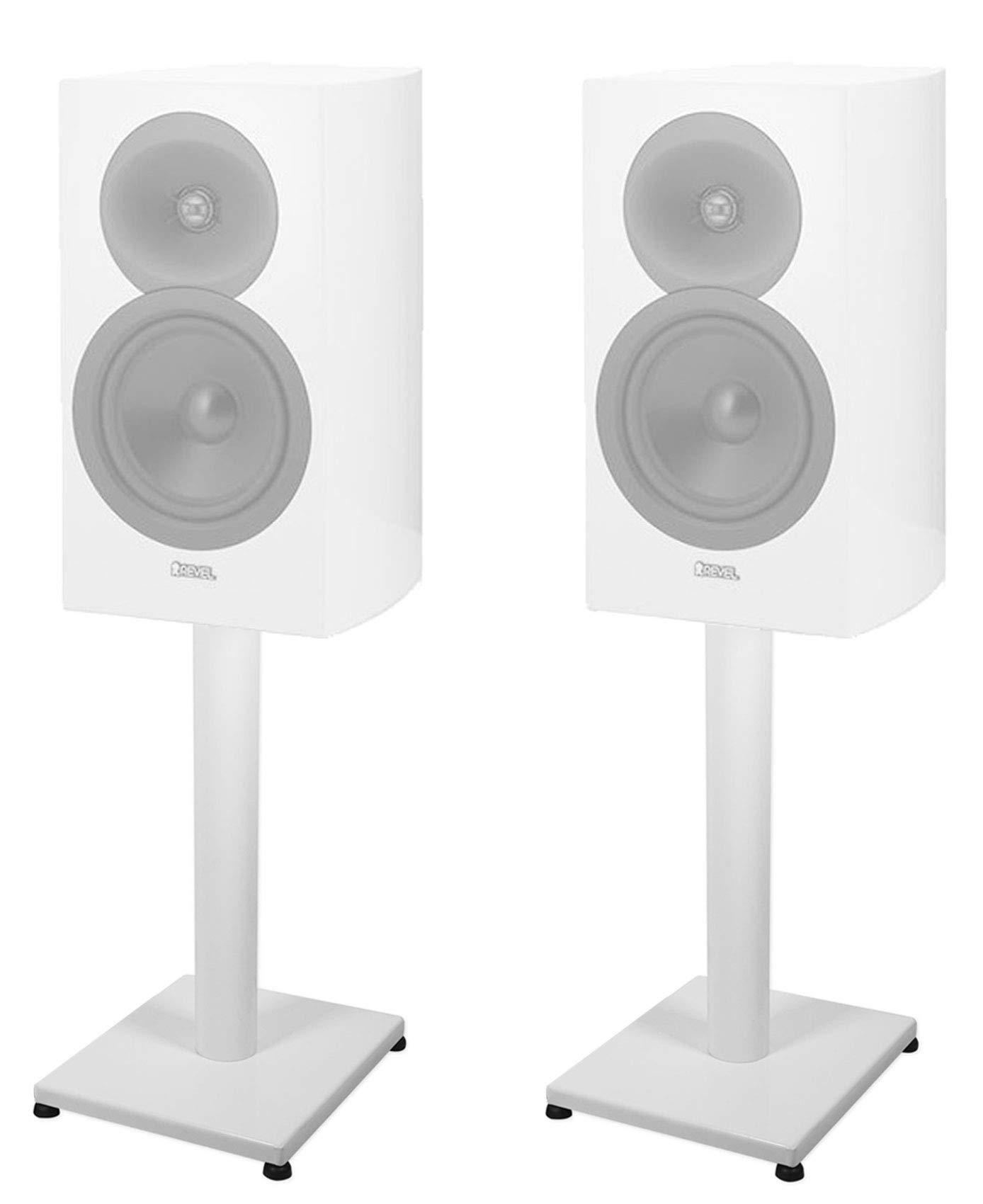 Pair 21'' Steel White Stands For Revel Concerta2 M16 Bookshelf Speakers