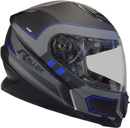 Rallox Helmets Integralhelm 510 3 Schwarz Blau Rallox Motorrad Roller Sturz Helm Xs S M L Xl Größe M Auto