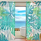 SEULIFE Window Sheer Curtain, Tropical Palm Leaves Pattern Voile Curtain Drapes for Door Kitchen Living Room Bedroom 55x78 inches 2 Panels