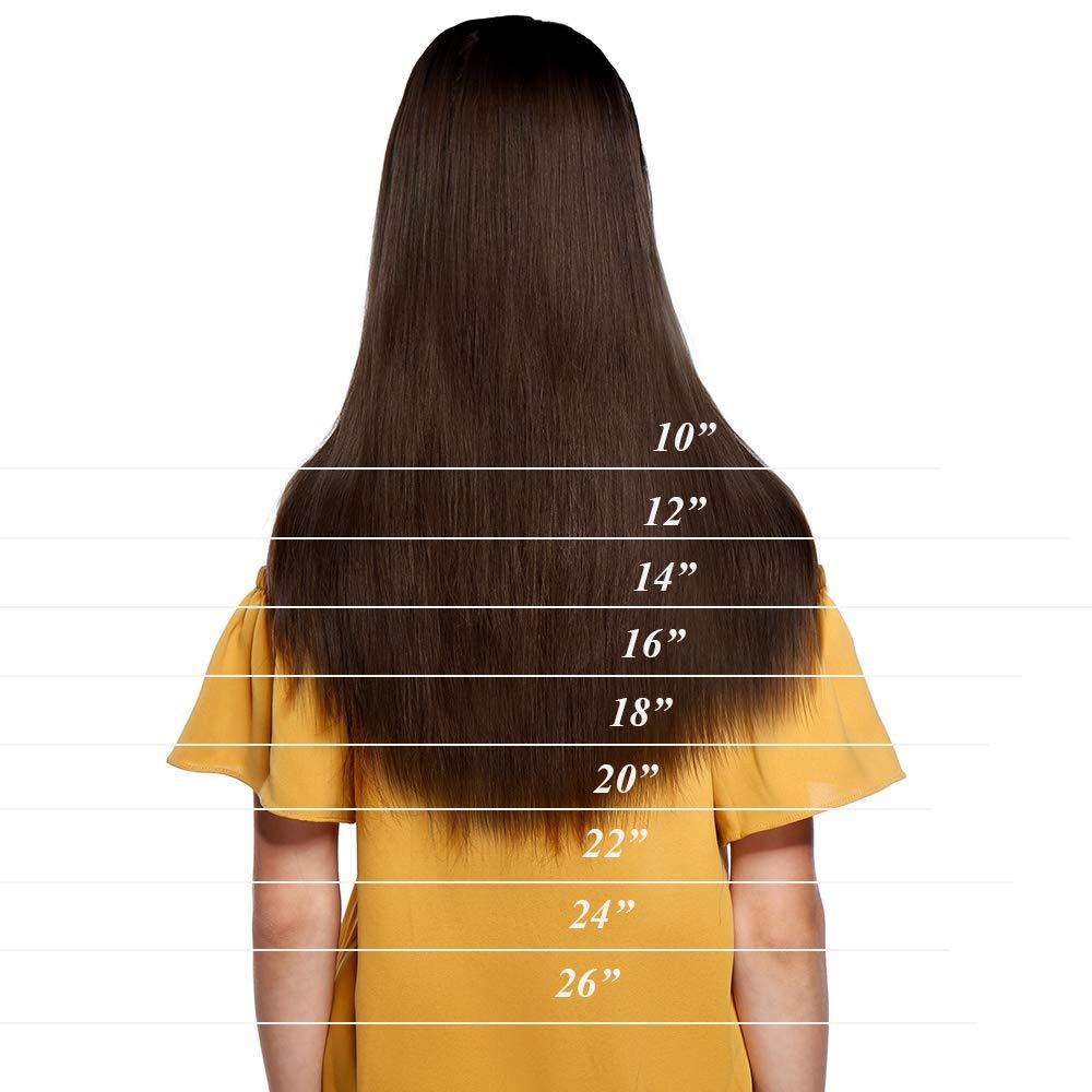 Extensiones de Pelo Natural con Hilo Una Pieza Liso Invisible y No Clips 100% Remy Cabello Humano 16