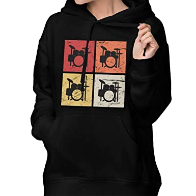 Retro Vintage Drum Kits Percussion Women s Printed Hoodie Sweatshirt  Pullover with Pockets at Amazon Women s Clothing store  9bc4f7f29