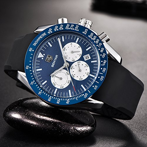 Mens-watches-Chronograph-Sport-Watch-Waterproof-Date-Quartz-Wrist-Watch-in-Black-Silicone-Band