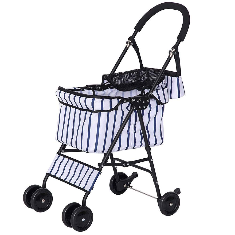 TYT Pet Stroller, Striped Lightweight Dog, Cat, Shock Absorber, Reversing Trolley