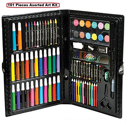 Kidsco Deluxe Art Set – 101 Pieces Assorted Art Kit Supplies For Artists, Painters, Watercolor, Drawing, Sketching, Coloring, Crafts, Teachers, Amateurs, Professionals, And Beginners (101 Piece Set)