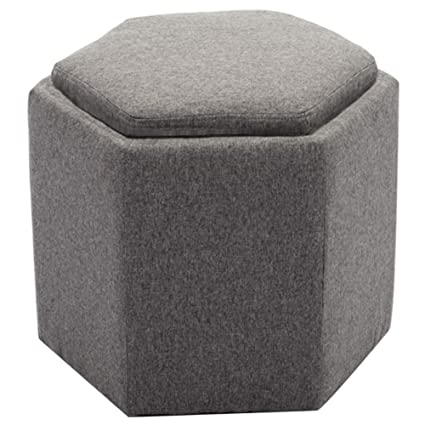 Surprising Chairus Fabric Hexagon Storage Tufted Ottoman With Tray Gray Cjindustries Chair Design For Home Cjindustriesco