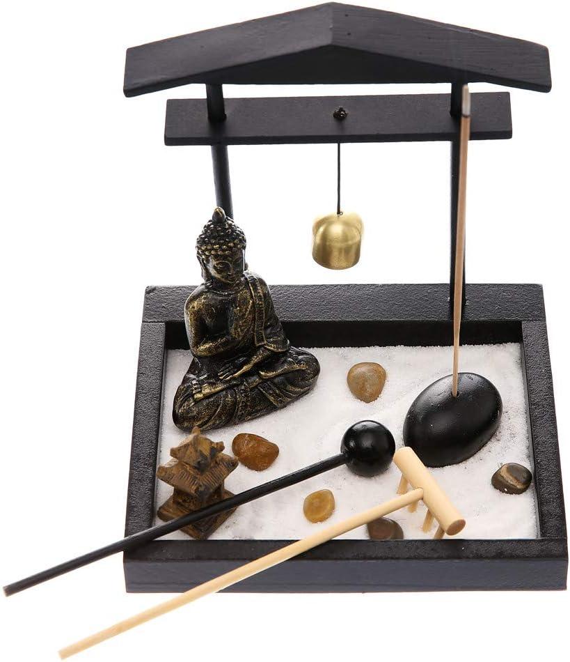Prime Feng Shui Zen Garden Buddha Statue Bell Archway Mini Garden Kit with Sand Rocks Rake Tower Incense Burner Best Gift