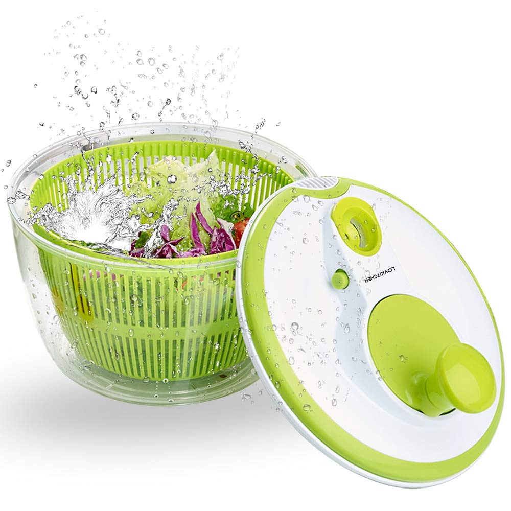 Salad Spinner LOVKITCHEN Large 5 Quarts Fruits and Vegetables Dryer Quick Dry Design BPA Free Dry Off & Drain Lettuce and Vegetable with Ease for Tastier Salads and Faster Food Prep by LOVKITCHEN