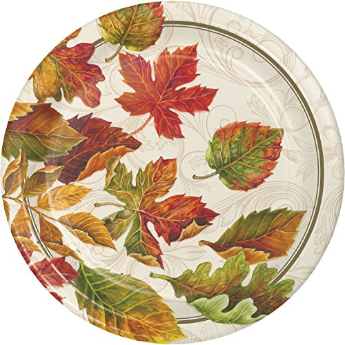 Colors of the Wind Thanksgiving Fall Leaves 8 Ct Dinner Plates