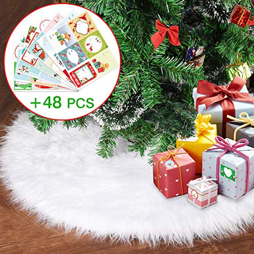 Joyjoz Christmas Tree Skirt, Small/Large White Christmas Tree Skirt (30 Inch) with 48 PCS StickersLuxury Faux Fur for Christmas Decorations Holiday, Xmas Ornaments