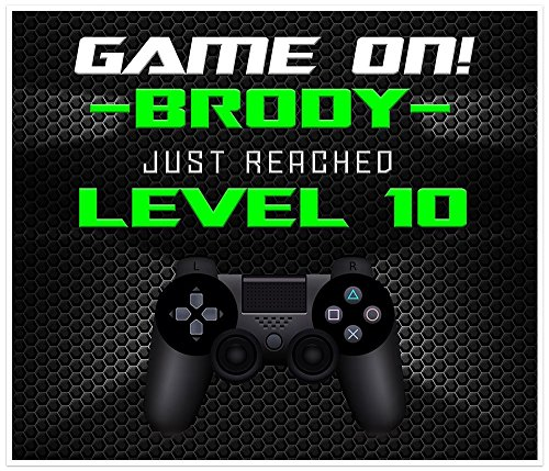 GAME ON Video Gamer Birthday Banner Neon Green Personalized Party Decoration Backdrop (Video Blast)