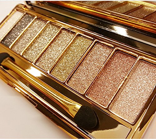 Zinnor 9 Colors Shimmer Eyeshadow-Eye Shadow Palette & Makeup Brush & Mirror Set-Women Cosmetic Diamond Bright Colorful Makeup Glitter Waterproof Eye Shadow Palette Set Eyeshadow Powder