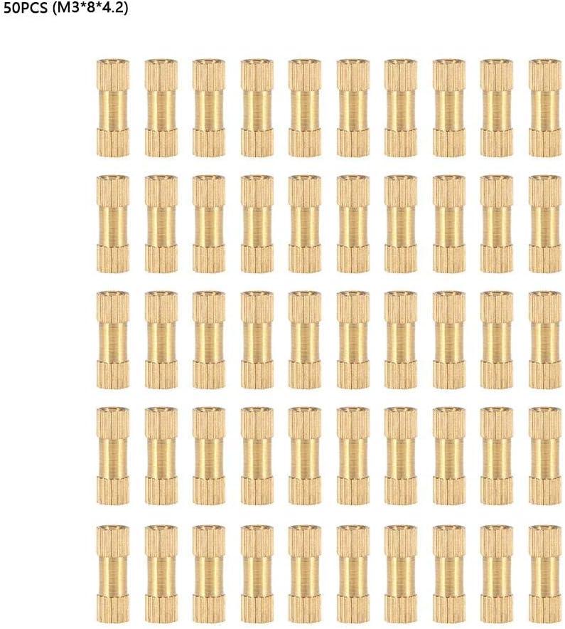 50 st/ücke M3 Messing Gewinde R/ändelmuttern Zylinder Ger/ändelt Runde Eingegossene Einlegemuttern M3*8 * 4.2(50pcs)
