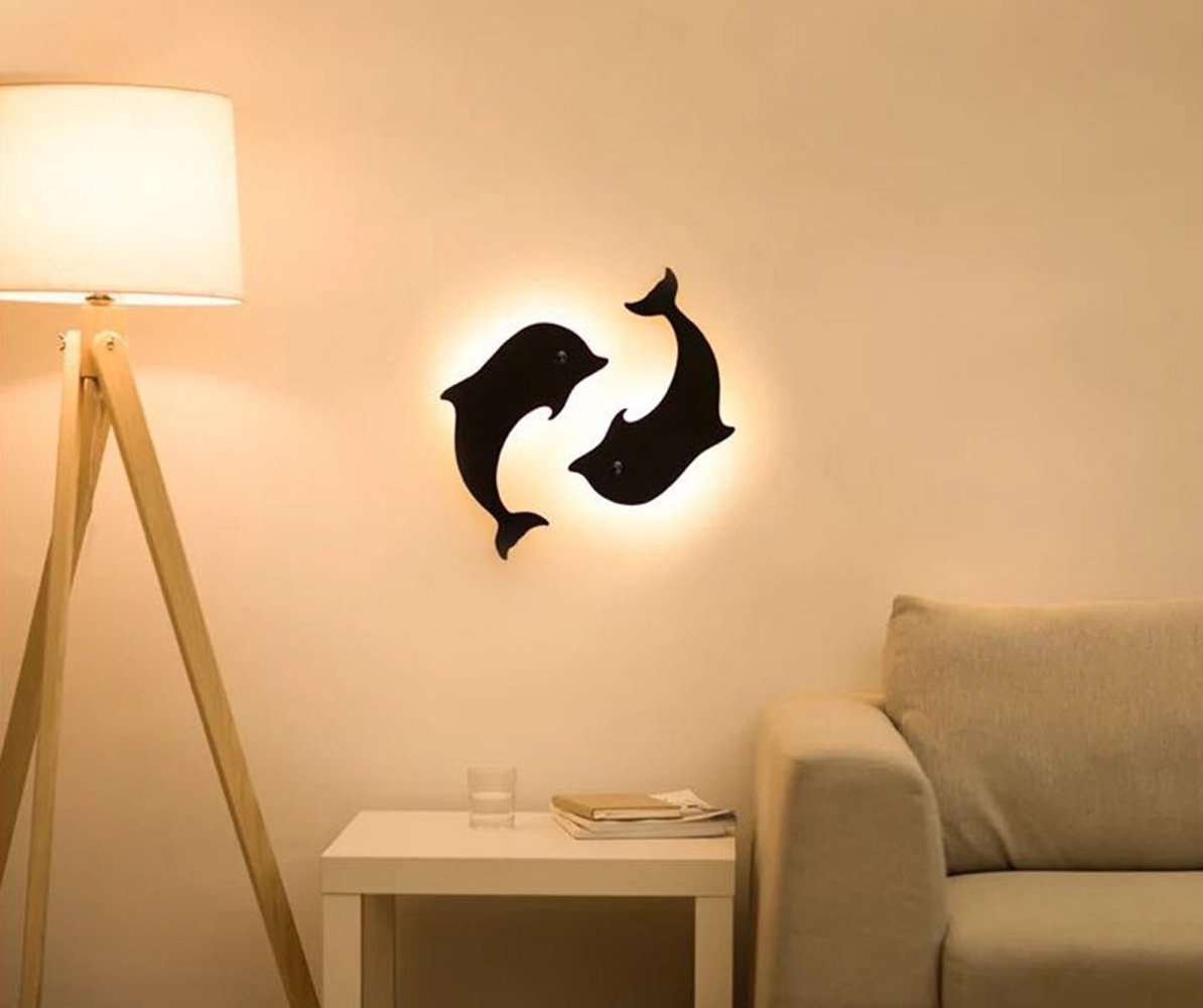 Ziming L Four Leaf Clover Dolphin Human Body Induction Onefire Night Lamp Remote Silhouette Light Kitchen Dining