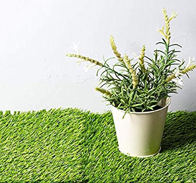 Juvale Artificial Grass - 4-Pack Synthetic Grass, Artificial Lawn, Fake Grass Patch, Non-Slip Turf, Grass Carpet, for Pets, Garden, Playroom, Indoor Outdoor Decor, Green