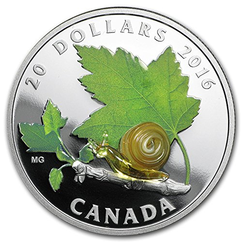 2016 CA Canada 1 oz Silver $20 Venetian Glass Creatures: Snail 1 OZ Brilliant - Glasses Online Canada