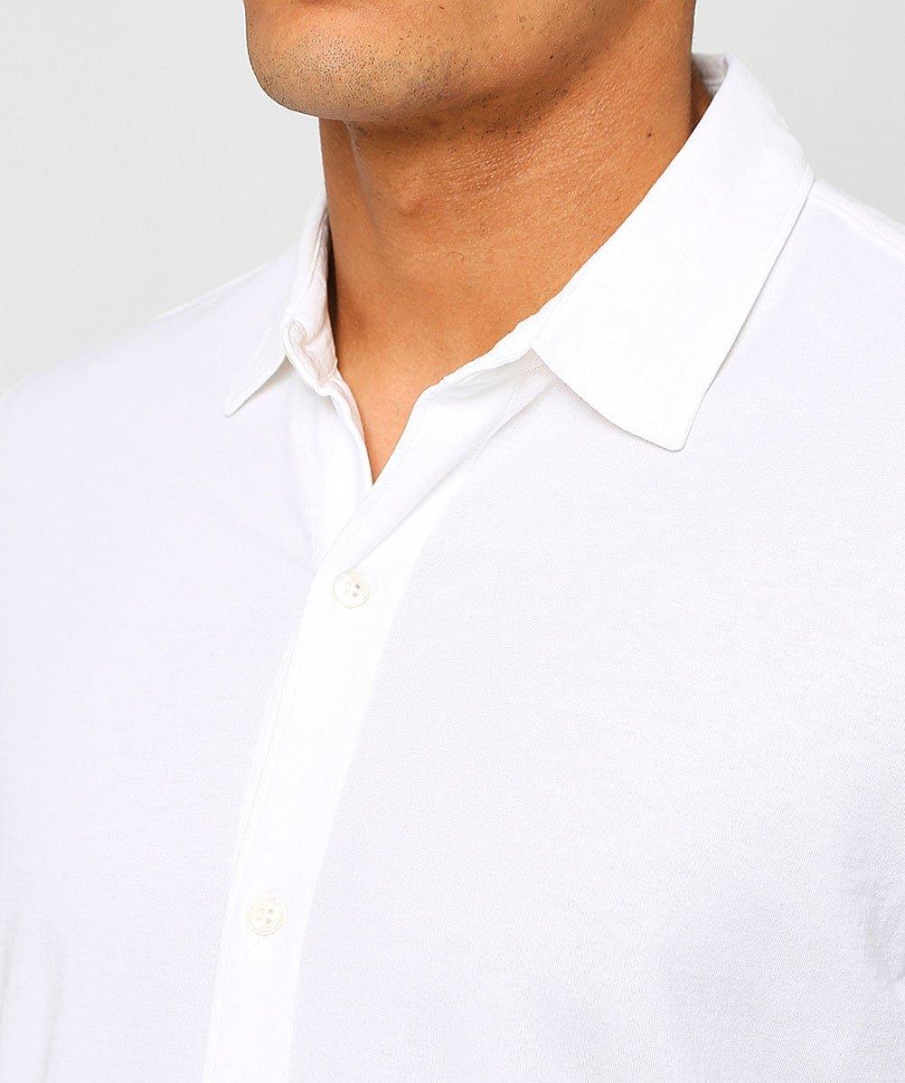 Altea Men's Superfine Crêpe Short Sleeve Baker Shirt White M by Altea (Image #4)