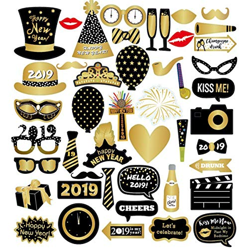 46 Pcs New Years Photo Booth Props Firm