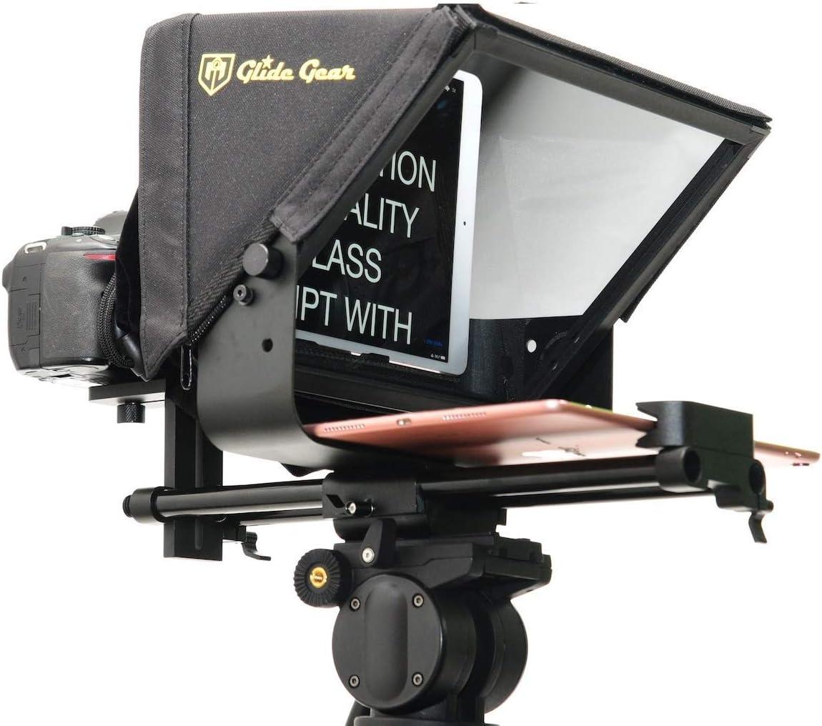 Glide Gear TMP 500 Universal Video Camera Tripod Teleprompter 15mm Rails w// Carry Case
