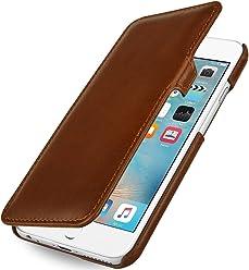 "StilGut Book Type Case con Clip, Custodia in Vera Pelle a Libro per Apple iPhone 6s Plus (5.5""), Cognac"