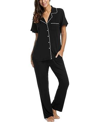 b73a3e954 TelDen Womens Comfort Pajama Set Short-Sleeve with Long Pjs Pants Soft  Sleepwear