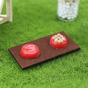 shengyuze Mini Wood Resin Pet Dog Cat Food Bowl Dollhouse Miniature Model Decor Ornament