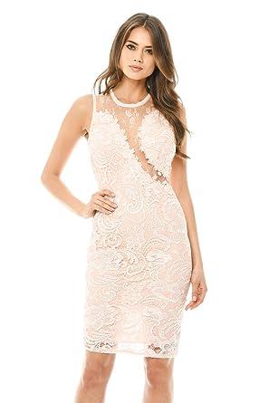 621ba6ec7e66 AX Paris Women's Sleeveless Lace Mesh Bodycon Midi Dress at Amazon ...