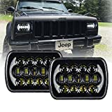 105W 5''x7' 6x7 inch Osram High Low Beam Led Headlights for Jeep Wrangler YJ Cherokee XJ H6054 H5054 H6054LL 69822 6052 6053 with Angel Eyes DRL (Black Pair)