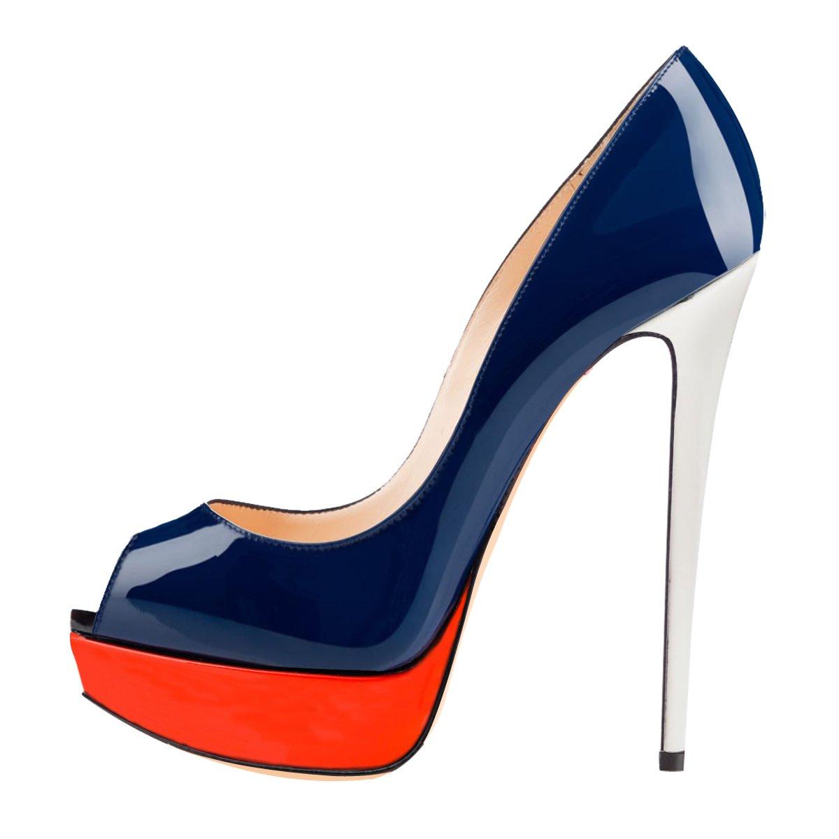 Onlymaker Damenschuhe High Heels Pumps Peep Toe Stiletto Plateau Absatz Lackleder  37 EU|Blau Und Orange